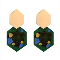 Brincos longos geométricos de três cores vintage feminino personalidade feminino feito mão graffiti brincos moda creative dranger jóias