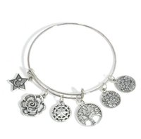 Pulseras ajustables de plata de marca brazalete con árboles de vida encantos de estrellas pulsera brazalete pulsera joyería para mujeres joyería fina regalo de Navidad
