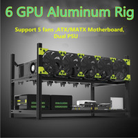 6GPU En Aluminium Empilable Open Air Mining Case Computer Frame Rig Bitcoin Ethereum Haute qualité boîtier de l'ordinateur tour pour BTC
