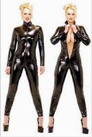 Kadınlar Vücut için Sıcak Seksi Siyah Catwomen Jumpsuit PVC Spandex Lateks Catsuit Kostümler Fetiş Deri Giydirme Plus Size XS-5XL Takımları
