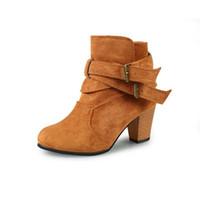 dee6b94be56 Bout pointu talon carré femmes bottes de mode boucle de cheville bottes  femmes chaussures fermeture éclair pas cher à talons hauts bottes  chaussures femme ...