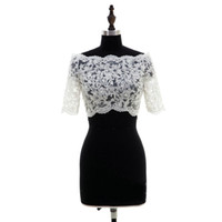 Мода 2021 кружева свадебные болеро с плечо половина рукава свадебные куртки иллюзия кнопка свадебные аксессуары свадебные болеро