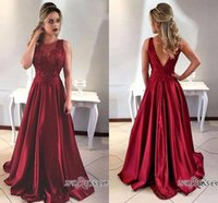 2018 Customize Dark Red Sleeveless Satin Long Formal Evening...