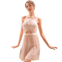 Solide Broderie Lingerie Sex Shop Pour Femme Lingerie Ouvert Entrejambe Transparent Erotique Lingerie Dos Nu Blanc Robe S927