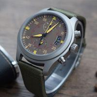 새로운 파일럿 IW388002 VK 쿼츠 무브먼트 스포츠 다섯 포인터 다기능 스톱워치 밀리터리 그린 나일론 스트랩 I W C 남성 손목 시계
