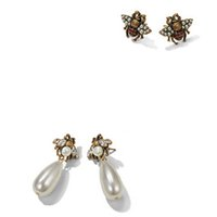 Retro Pearl Bee Stud Earring Luxury Famous Brand Jewelry Wom...