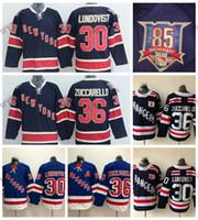 2011 Camicie Vintage 85 ° anniversario di New York Rangers 30 Navy Henrik Lundqvist 36 Mats Zuccarello Hockey maglie alternativo blu cucita