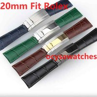 20mm AAA Genuine Leather Rubber Strap SUB GMT Band Watch Ban...