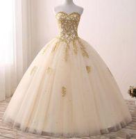2018 bon marché de vrais images or robe de balle appliquée quinceanera robes chérie Tulle Tulle longueur longueur douce 16 robes robe de soirée