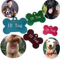 100 pcs / lot couleurs mélangées étiquette de chien double côtés en forme d'os personnalisé étiquettes d'identité de chien personnalisé chat étiquettes d'identification pour animaux de compagnie Nom Numéro de téléphone carte d'identité I086