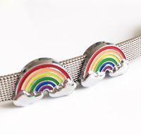 10 unids 8 MM esmalte Rainbow encantos de la diapositiva de los granos DIY accesorios Fit 8 mm collar de perro mascota cinturones pulseras