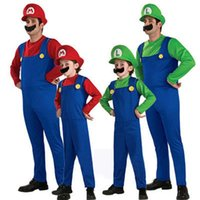 Kids Adult Mens Super Mario and Luigi Bros Fancy Dress Hallo...