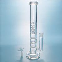 12 Inch Turbine Perc Waterpipes pitada do gelo vidro Dab Rigs Triplo Honeycomb Perc Bongs Quadra Tubo Reto Clear Water Bong HR316
