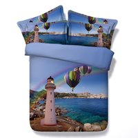 3D blue lighthouse Duvet Cover moon animal fish bedding sets...