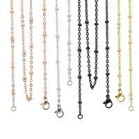 3 мм серебро золото розовое золото черный 18 20 24 28 32 дюймов 316 из нержавеющей стали мяч станция цепи кабеля ожерелье