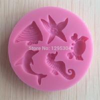 Outils de gâteaux En gros - Nouveau 1PC Mer en forme d'animal en forme de silicone en forme de verre pâte de sucre 3D Fondant décoration Outils de savon