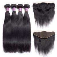 Paquetes de armadura de cabello humano recto brasileño virgen con paquetes de cabello recto virgen frontal sin procesar con extensiones frontales de cabello remy