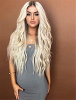 Full Lace Human Hair Wig Wavy Natural Wave Ombre T1B 613 Blo...