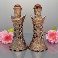 15 мл стекла древние старинные бронзовые тонкие бутылки,полые цветок драгоценный камень акценты пустые арабские духи стеклянная бутылка
