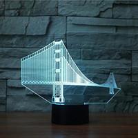 3D Golden Gate Bridge Night Light Touch Table Desk Illusione ottica Lampade 7 luci che cambiano colore Decorazione della casa Regalo di compleanno di Natale