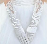 Frete Grátis Mais Novo Estilo Longo Laciness Vestido Frisado Luvas De Renda Luvas De Casamento Stain Nupcial Luvas Vestido De Noiva Acessórios 2019
