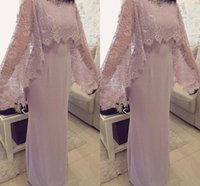 Elegant Mother Of The Bride Dresses With Lace Cape Floor Len...
