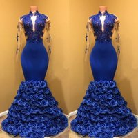 3D Floral Appliques Evening Gowns 2019 Tiered Royal blue Plu...