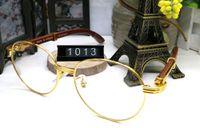 Fransa Tasarım Erkekler Tam Altın Çerçeveleri Gözlük Kahverengi Beyaz Ahşap Buffalo Boynuz Gözlük Marka Optik Güneş Kadınlar Ahşap Gözlük Gözlük