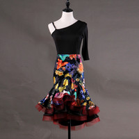 Adult Child Latin Dance Skirt For Sale Print Flowers Latin B...