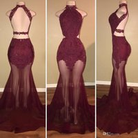 2018 Burgundy High- Neck Lace Appliques Mermaid Evening Dress...