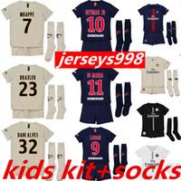 KIDS + calcetines 18 19 psg paris saint germain NEYMAR JR TERCER camisetas  de fútbol MBAPPE 8964c869615f5