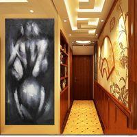Pintado a mano Retrato de mujer desnuda Pintura al óleo sobre lienzo Hecho a mano Mujer hermosa Estilo abstracto Sin marco