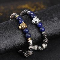 Free DHL Weathered Agate Lazuli Leopard Head Yoga Stretch Ba...