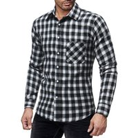 2018 autumn and winter new thick plaid men' s casual sli...