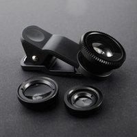 3in1 Universal-Handy-Objektive Fischaugen-Objektiv Weitwinkel-Makro-Objektiv für Iphone 7 6 S 5S SE Samrtphone Fisheye Lentes