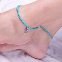 Einfache blaue oder weiße Korn-Gürtel wählen mit Handanhänger für Frauen Fuß Mode Fußkettchen Geschenk