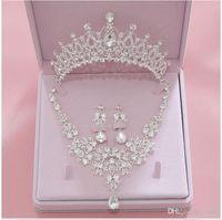 Acessórios de Noiva 2019 Prata Cristal Nupcial Jóias Conjuntos Colar Brincos Coroa Jóias Casamento Acessórios de Natal Presente