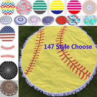 New 2018 150cm Baseball Round Beach Towel Polyester Softball...