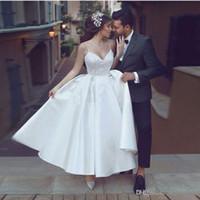 Lindo Vestidos de Casamento Curto V Pescoço Cintas de Espaguete Rendas Cetim Tornozelo Comprimento Praia Vestidos de Casamento Vestidos de Noiva Elegante vestito da sposa