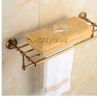 Ücretsiz kargo, pirinç banyo havlu askısı, antika pirinç havlu tutucu, 50cm köşe banyo havlusu raf aksesuarları, yt-12201-50