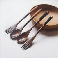Safe wooden fork spoon two- piece suit Japanese style travel ...