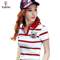 Wholesale- New Women Polo Shirt Femme Stripe Breathable Class...