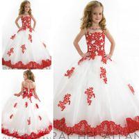 لطيف الأبيض والأحمر الفتاة المسابقة فستان الأميرة الكرة ثوب تول حزب كب كيك جميلة ليتل أطفال الملكة زهرة فتاة الأولى بالتواصل اللباس
