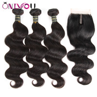 Wholesale Peruvian Virgin Body Wave Hair Weaves Closure with...