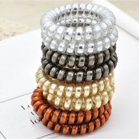 High Quality Gold Silver Brown Telephone Cord Hair Bands Ela...