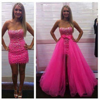 Hot Pink 2018 Short Prom Dresses Strapless Sheath Mini Evening Gowns With Detachable Tulle Skirt Custom Made Beaded Sequined Party Gowns