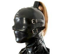 Erotic Sex Masque en caoutchouc BDSM Bondage SM avec perruque, capuchon fétiche, avec cosplay enlevant les yeux et la bouche