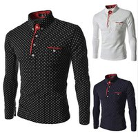 Nuevos hombres de moda Golf T-Shirts Trendy Wave Point Self-Cultive Long Sleeve Tide cómodo Polo Top