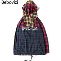 Bebovizi Marke Mode Herbst Hip Hop Streetwear Männlichen Patchwork Hoodies Plaid Sweatshirts Lose Pullover Mit Kapuze Kleidung Mädchen
