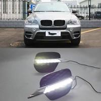 2 Pcs DRL Para BMW X5 E70 2011 2012 2013 Luzes Diurnas Daylight Car LED Fog cabeça lâmpada cobrir